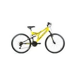 "BICI 24"" DOBLE SUSPENSION AMARILLO/NEGRO 21 VEL."