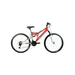 "BICI 24"" DOBLE SUSPENSION ROJO/BLANCO 21 VEL."